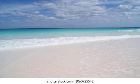 Beautiful scene of the pink sand beach in Harbour Island, Bahamas