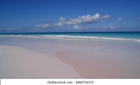 Beautiful scene of the pink sand beach in Harbour Island, Bahamas