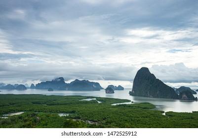 Beautiful scene seascape of phang nga bay from samed nang chee mountain view point, Phang Nga, Thailand