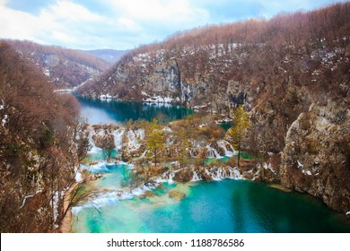Beautiful Scene with Snow and Lake, Plitvice Lakes National Park