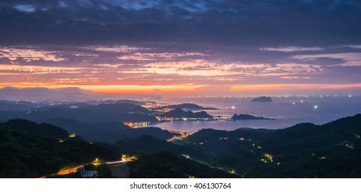 The beautiful scene of sunset at Jiufen, Ruifang, Taiwan