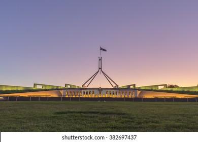 Beautiful scene of sunset at Parliament House Canberra, Australia
