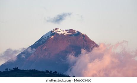 Beautiful scene at sunset where we can see the Tungurahua volcano, shot made from the city of Ambato