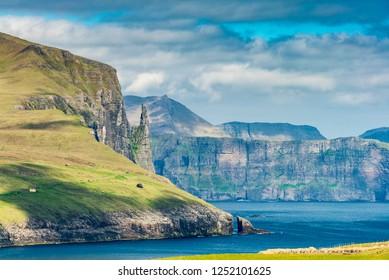 Beautiful Scene Of Trolkonufingur Mountain,  Faroe Islands