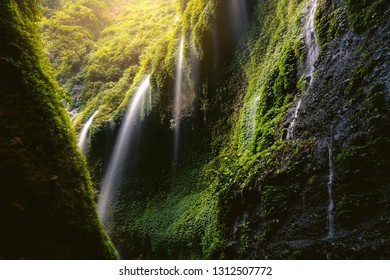 Beautiful scene of waterfall in deep forest at Indonesia, Natural green jungle background with purity waterfalls.