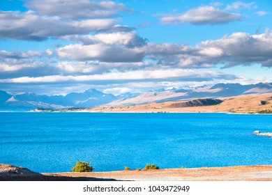 Beautiful scene of the yellow grassland mt cook and lake tekapo before sunset.