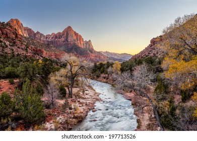 Beautiful scene of Zion National Park , The watchman at sunset, Utah.