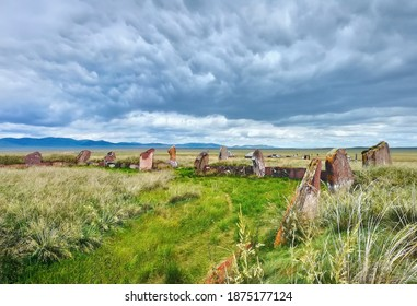Beautiful scenery with ancient Large Salbyk mound and green valley in Khakassia, Southerh Siberia, Russia