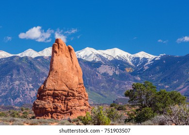 Beautiful scenery in the Arches National Park, Utah, with clear blue sky