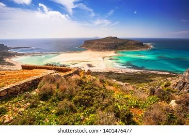 Beautiful scenery of Balos beach on Crete, Greece
