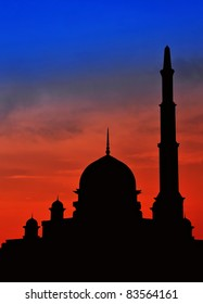 Beautiful scenery of  blue and red sky at mosque