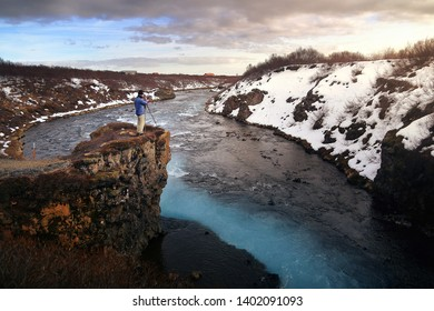 Beautiful scenery of Bruarfoss waterfall at sunset in Iceland. Bruarfoss waterfall is famous natural landmark and very popular for photographers and tourists. Attractions and travel concept