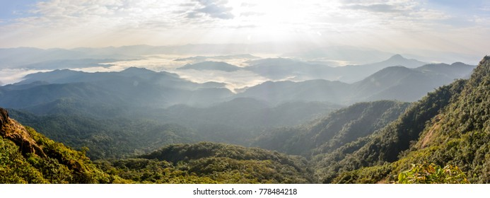 """beautiful scenery with cloudy sky, cloudy sea, sunshine, mountains and forest. """"Than Taung"""" Mountain, Kayin State, Myanmar"""