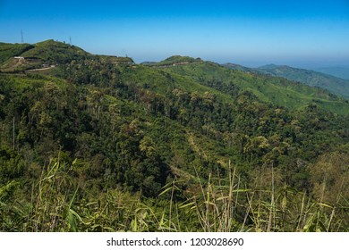 Beautiful scenery with cloudy sky, sunshine, mountains and forest of Arakan mountain,Rakhine state,Myanmar,Asia.