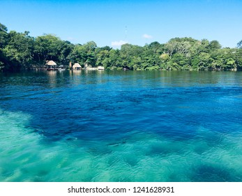 Beautiful scenery of the crystal clear Lagoon of Seven Colors in Bacalar, Mexico