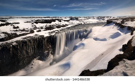Beautiful scenery of Dettifoss waterfall near Selfoss is located in Vatnajökull National Park in north of Iceland. Travel and natural Concept.