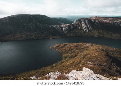 Beautiful scenery of Dove Lake viewed from Marions Lookout at Cradle Mountain - Lake St Clair National Park, Tasmania, Australia.