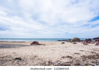 Beautiful scenery of dramatic Pembrokeshire coastline,South Wales, Uk in summer.Scenic landscape of british coast.Beautiful sandy beach with rocks.Idyllic landscape uk.Perfect holiday location.