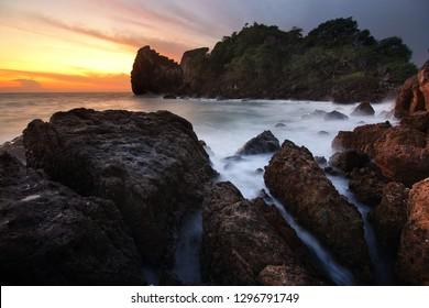 Beautiful scenery during sunrise of AO Bo thonglang Beach at Bang Saphan District ,Prachuap Khiri Khan province in Thailand. Travel and natural Concept.