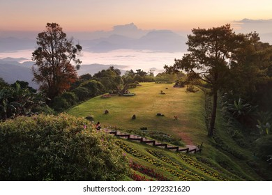 Beautiful scenery during sunrise of Huai Nam Dang National park at Chiang Mai in Thailand.This is very popular for photographers and tourists. Attractions and natural Concept