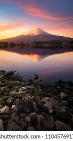 Beautiful scenery during sunrise of Mountain Fuji with colorful sky at kawaguchiko lake in Japan This is a very popular for photographers and tourists. Travel and natural Concept