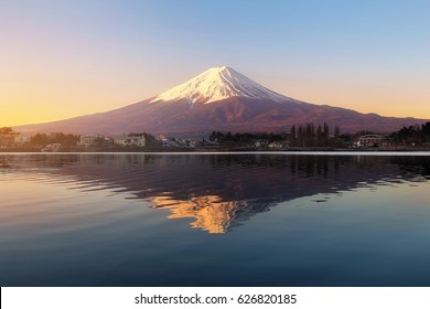 Beautiful scenery during sunrise at Mountain Fuji in kawaguchiko lake of Japan. This is a very popular for photographers and tourists. Travel and Attraction Concept
