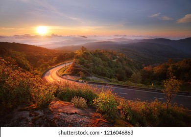 Beautiful scenery during sunrise time of Doi Tigers Head view point at Doi Inthanon National park,Chiang Mai,Thailand is a very popular for photographers and tourists. Attractions and natural Concept