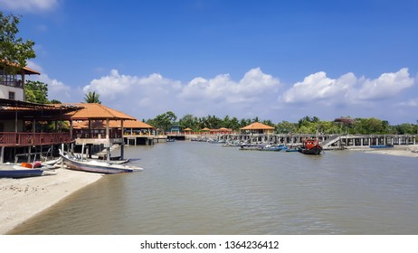 The beautiful scenery of a fisherman village over the blue sky