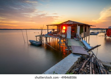 Beautiful scenery of floating house during sunset