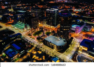 A beautiful scenery of Greensboro city lights from above on a clear night