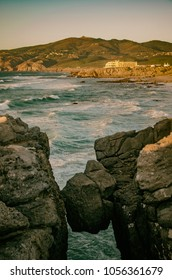 Beautiful scenery of Guincho beach in the rochy coast of Portugal
