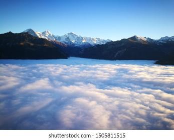 Beautiful scenery from Harder Kulm, top of Interlaken Switzerland