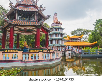 Beautiful scenery at Haw Par Villa,  the Tiger Balm Brothers parc in Singapore. - Shutterstock ID 1574104933