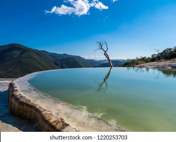 Beautiful scenery of Hierve el Agua natural pools in Oaxaca Mexico