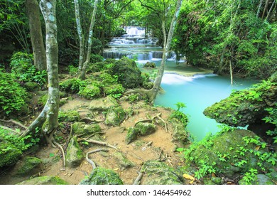 Beautiful scenery Huay Mae Kamin waterfall National Park Kanchanaburi  province,Thailand