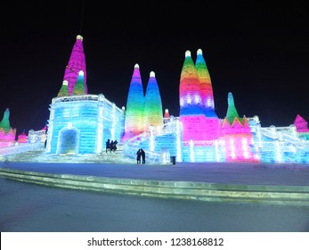 Beautiful scenery of ice sculpture and lighting of International Ice and Snow Sculpture Festival at Harbin, Heilongjiang, China.