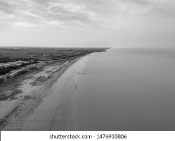 the beautiful scenery of Kuala Perlis from aerial view. Perlis is a state located at the north of Peninsular Malaysia. Image is in black and white.