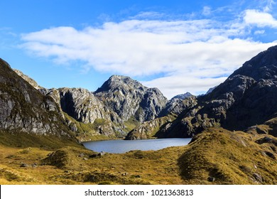 Beautiful scenery of Lake Harris and surrounding mountains in the Routeburn Track in the border of Mount Aspiring and Fiordland National Parks