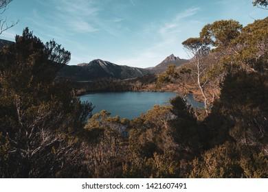 Beautiful scenery of Lake Lilla viewed from Wombat Pool Track during autumn season at Cradle Mountain - Lake St Clair National Park, Tasmania, Australia.