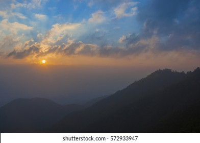 Beautiful scenery landscape sunrise view from top of mountain at Chiangmai province in Thailand , popular for photographers and tourists. Attractions and natural Concept