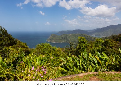 Beautiful scenery look out landscape Trinidad north coast ocean tropical