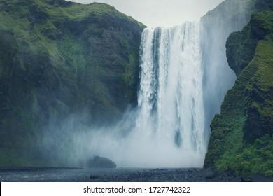 Beautiful scenery of the majestic Skogafoss waterfall, Iceland