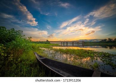 A Beautiful Scenery of Majuli Island, Assam.