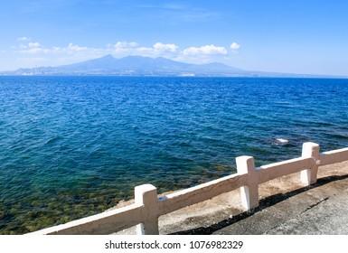 Beautiful scenery of Mount Mariveles view from Corregidor Island pier, Manila, Philippines