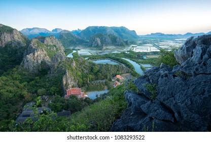 The beautiful scenery of the mountain, early in the morning at Khao Daeng Viewpoint, Khao Sam Roi Yot National Park, Prachuap Khiri Khan, Thailand.