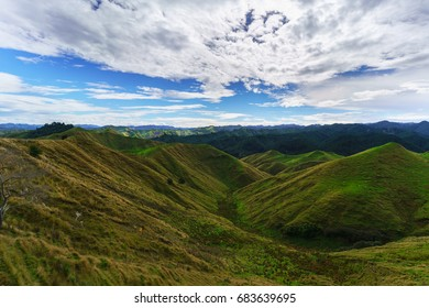 Beautiful scenery of mountains along the way on Whanganui river road in National Park in Autumn , Whanganui , North Island of New Zealand