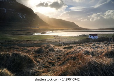 Beautiful scenery of natural from meadow and mountains during the sunsets. Can be seen along the route on Ring road in Iceland.