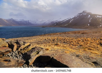 Beautiful scenery of natural from meadow and mountains. Can be seen along the route on Ring road in Iceland.