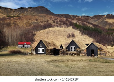 Beautiful scenery of natural and traditional Icelandic houses at Skogar in Iceland