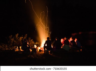 beautiful scenery of night view. bonfire around people, bask near the fire, the concept of recreation